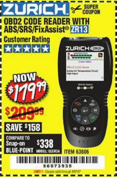 Harbor Freight Coupon ZURICH OBD2 SCANNER WITH ABS ZR13 Lot No. 63806 Expired: 6/5/19 - $179.99
