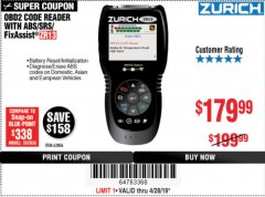 Harbor Freight Coupon ZURICH OBD2 SCANNER WITH ABS ZR13 Lot No. 63806 Expired: 4/28/19 - $179.99