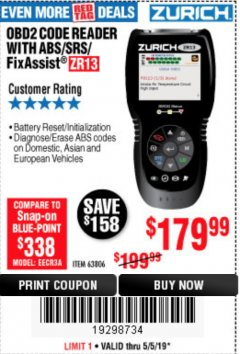 Harbor Freight Coupon ZURICH OBD2 SCANNER WITH ABS ZR13 Lot No. 63806 Expired: 5/5/19 - $179.99