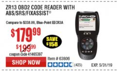 Harbor Freight Coupon ZURICH OBD2 SCANNER WITH ABS ZR13 Lot No. 63806 Expired: 5/31/19 - $179.99