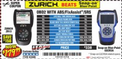 Harbor Freight Coupon ZURICH OBD2 SCANNER WITH ABS ZR13 Lot No. 63806 Expired: 10/1/19 - $179.99
