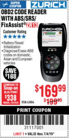 Harbor Freight Coupon ZURICH OBD2 SCANNER WITH ABS ZR13 Lot No. 63806 Expired: 7/4/19 - $169.99