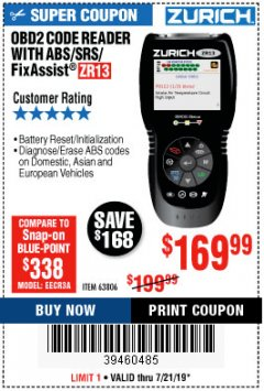 Harbor Freight Coupon ZURICH OBD2 SCANNER WITH ABS ZR13 Lot No. 63806 Expired: 7/21/19 - $169.99