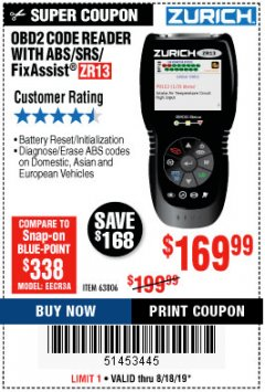 Harbor Freight Coupon ZURICH OBD2 SCANNER WITH ABS ZR13 Lot No. 63806 Expired: 8/18/19 - $169.99