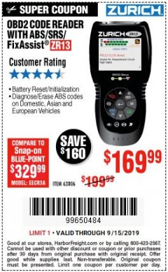 Harbor Freight Coupon ZURICH OBD2 SCANNER WITH ABS ZR13 Lot No. 63806 Expired: 9/15/19 - $169.99