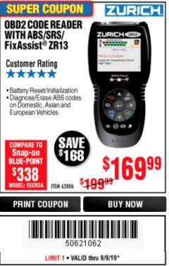 Harbor Freight Coupon ZURICH OBD2 SCANNER WITH ABS ZR13 Lot No. 63806 Expired: 9/9/19 - $169.99