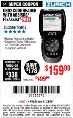 Harbor Freight Coupon ZURICH OBD2 SCANNER WITH ABS ZR13 Lot No. 63806 Valid Thru: 11/24/19 - $159.99