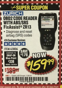 Harbor Freight Coupon ZURICH OBD2 SCANNER WITH ABS ZR13 Lot No. 63806 Valid Thru: 11/30/19 - $159.99