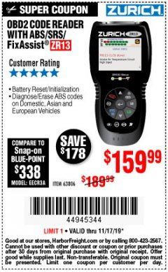 Harbor Freight Coupon ZURICH OBD2 SCANNER WITH ABS ZR13 Lot No. 63806 Valid Thru: 11/17/19 - $159.99