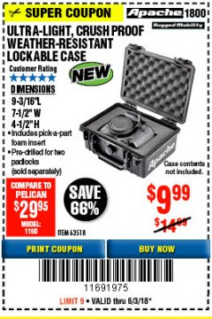 Harbor Freight Coupon ULTRA LIGHT, CRUSH PROOF, WEATHER RESISTANT LOCKABLE CASE Lot No. 63926 Expired: 6/3/18 - $9.99