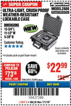 Harbor Freight Coupon ULTRA LIGHT, CRUSH PROOF, WEATHER RESISTANT LOCKABLE CASE Lot No. 63926 Expired: 7/1/18 - $22.99