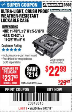 Harbor Freight Coupon ULTRA LIGHT, CRUSH PROOF, WEATHER RESISTANT LOCKABLE CASE Lot No. 63926 Expired: 5/12/19 - $22.99