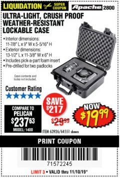 Harbor Freight Coupon ULTRA LIGHT, CRUSH PROOF, WEATHER RESISTANT LOCKABLE CASE Lot No. 63926 Expired: 11/10/19 - $19.99