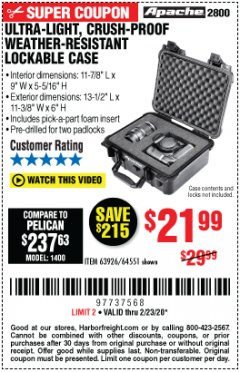 Harbor Freight Coupon ULTRA LIGHT, CRUSH PROOF, WEATHER RESISTANT LOCKABLE CASE Lot No. 63926 Expired: 2/23/20 - $21.99