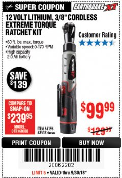"Harbor Freight Coupon 12 VOLT, 3/8"" CORDLESS EXTREME TORQUE RATCHET KIT Lot No. 63538/64196 Expired: 9/30/18 - $99.99"