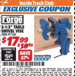 "Harbor Freight ITC Coupon 2-1/2"" TABLE SWIVEL VISE Lot No. 97160 Expired: 5/31/18 - $17.99"