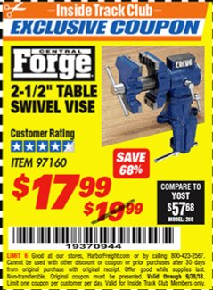 "Harbor Freight ITC Coupon 2-1/2"" TABLE SWIVEL VISE Lot No. 97160 Expired: 9/30/18 - $17.99"