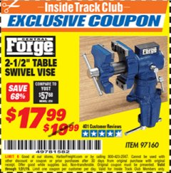 "Harbor Freight ITC Coupon 2-1/2"" TABLE SWIVEL VISE Lot No. 97160 Expired: 1/31/19 - $17.99"
