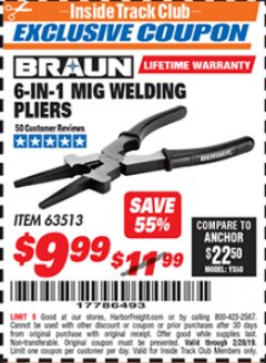 Harbor Freight ITC Coupon 6-IN-1 MIG WELDING PLIERS Lot No. 63513 Dates Valid: 12/31/69 - 2/28/19 - $9.99