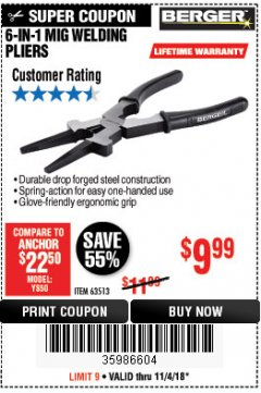 Harbor Freight Coupon 6-IN-1 MIG WELDING PLIERS Lot No. 63513 EXPIRES: 11/4/18 - $9.99