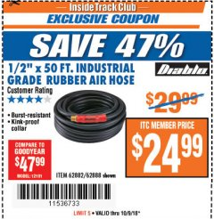"Harbor Freight ITC Coupon DIABLO 1/2"" X 50 FT. INDUSTRIAL GRADE RUBBER AIR HOSE Lot No. 62882/62888 Expired: 10/9/18 - $24.99"