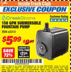 Harbor Freight ITC Coupon 158 GPH SUBMERSIBLE FOUNTAIN PUMP Lot No. 63315 Expired: 10/31/18 - $5.99