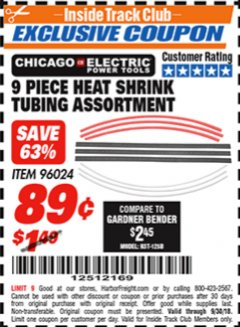 Harbor Freight ITC Coupon 9 PIECE HEAT SHRINK TUBING ASSORTMENT Lot No. 96024 Expired: 9/30/18 - $0.89