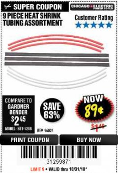 Harbor Freight Coupon 9 PIECE HEAT SHRINK TUBING ASSORTMENT Lot No. 96024 Expired: 10/31/18 - $0.89
