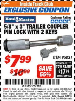 "Harbor Freight ITC Coupon 5/8""X 3"" TRAILER COUPLER PIN LOCK WITH 2 KEYS Lot No. 95831 Expired: 8/31/18 - $7.99"