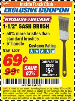"Harbor Freight ITC Coupon 1-1/2"" SASH BRUSH Lot No. 1508 Dates Valid: 12/31/69 - 6/30/18 - $0.69"