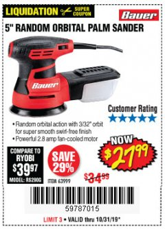 "Harbor Freight Coupon BAUER 5"" RANDOM ORBITAL PALM SANDER Lot No. 63999 Expired: 10/31/19 - $27.99"