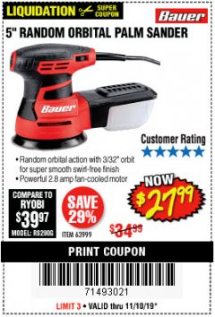 "Harbor Freight Coupon BAUER 5"" RANDOM ORBITAL PALM SANDER Lot No. 63999 Expired: 11/10/19 - $27.99"