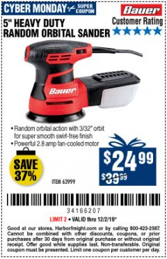 "Harbor Freight Coupon BAUER 5"" RANDOM ORBITAL PALM SANDER Lot No. 63999 Expired: 12/2/19 - $24.99"