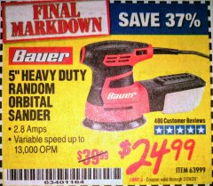 "Harbor Freight Coupon BAUER 5"" RANDOM ORBITAL PALM SANDER Lot No. 63999 Valid: 12/1/19 - 2/29/20 - $24.99"