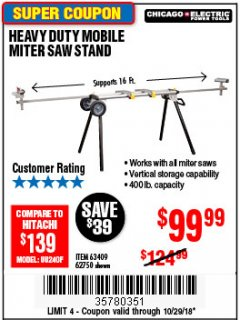 Harbor Freight ITC Coupon CHICAGO ELECTRIC HEAVY DUTY MOBILE MITER SAW STAND Lot No. 63409/62750 Expired: 10/28/18 - $169.99