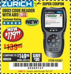 Harbor Freight Coupon ZURICH OBD2 CODE READER WITH ABS ZR11 Lot No. 63807 Expired: 10/1/18 - $119.99