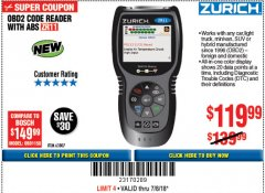 Harbor Freight Coupon ZURICH OBD2 CODE READER WITH ABS ZR11 Lot No. 63807 Expired: 7/18/18 - $119.99