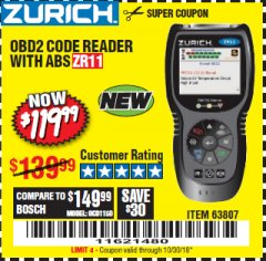 Harbor Freight Coupon ZURICH OBD2 CODE READER WITH ABS ZR11 Lot No. 63807 Expired: 10/30/18 - $119.99