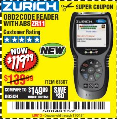 Harbor Freight Coupon ZURICH OBD2 CODE READER WITH ABS ZR11 Lot No. 63807 Expired: 11/2/18 - $119.99