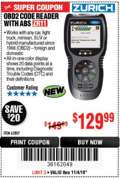 Harbor Freight Coupon ZURICH OBD2 CODE READER WITH ABS ZR11 Lot No. 63807 Expired: 11/4/18 - $129.99