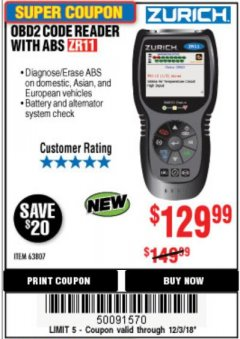 Harbor Freight Coupon ZURICH OBD2 CODE READER WITH ABS ZR11 Lot No. 63807 Expired: 12/3/18 - $129.99