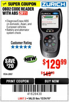 Harbor Freight Coupon ZURICH OBD2 CODE READER WITH ABS ZR11 Lot No. 63807 Expired: 12/24/18 - $129.99