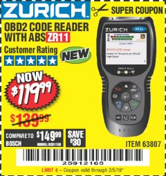 Harbor Freight Coupon ZURICH OBD2 CODE READER WITH ABS ZR11 Lot No. 63807 Expired: 2/5/19 - $119.99