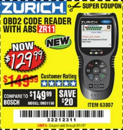 Harbor Freight Coupon ZURICH OBD2 CODE READER WITH ABS ZR11 Lot No. 63807 Expired: 5/1/19 - $129.99