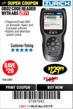 Harbor Freight Coupon ZURICH OBD2 CODE READER WITH ABS ZR11 Lot No. 63807 Expired: 3/31/19 - $129.99