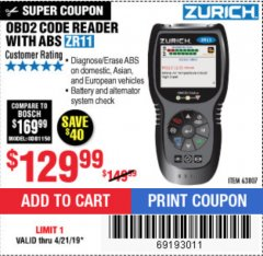Harbor Freight Coupon ZURICH OBD2 CODE READER WITH ABS ZR11 Lot No. 63807 Expired: 4/21/19 - $129.99