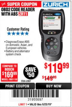 Harbor Freight Coupon ZURICH OBD2 CODE READER WITH ABS ZR11 Lot No. 63807 Expired: 6/23/19 - $119.99