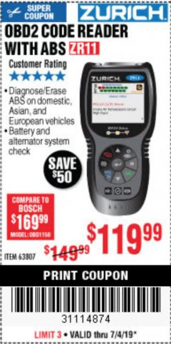 Harbor Freight Coupon ZURICH OBD2 CODE READER WITH ABS ZR11 Lot No. 63807 Expired: 7/4/19 - $119.99