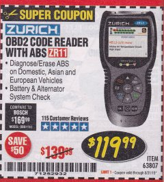 Harbor Freight Coupon ZURICH OBD2 CODE READER WITH ABS ZR11 Lot No. 63807 Expired: 8/31/19 - $119.99
