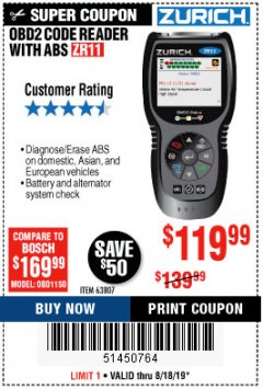 Harbor Freight Coupon ZURICH OBD2 CODE READER WITH ABS ZR11 Lot No. 63807 Expired: 8/18/19 - $119.99